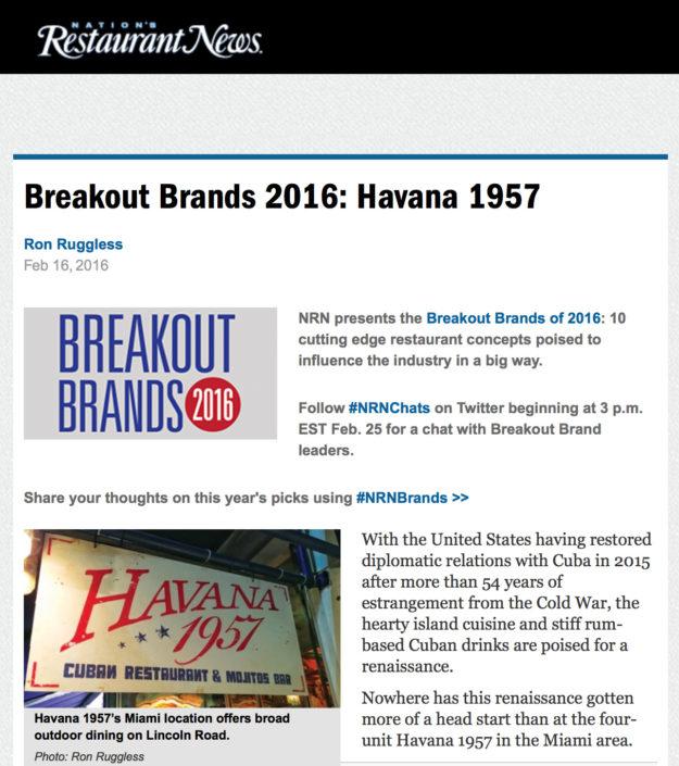 Breakout Brands 2016: Havana 1957